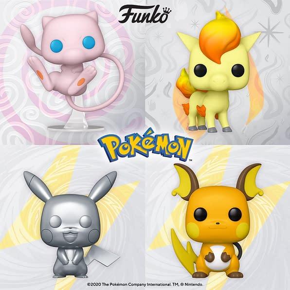 funko pop! mew, ponyta, pikachu, raichu-min