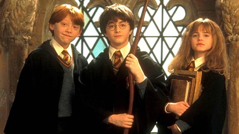 harry ron e hermione nel primo film