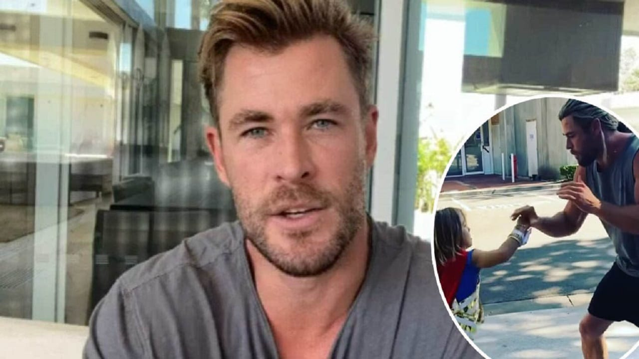 Chris Hemsworth allena il figlio in un video thumbnail