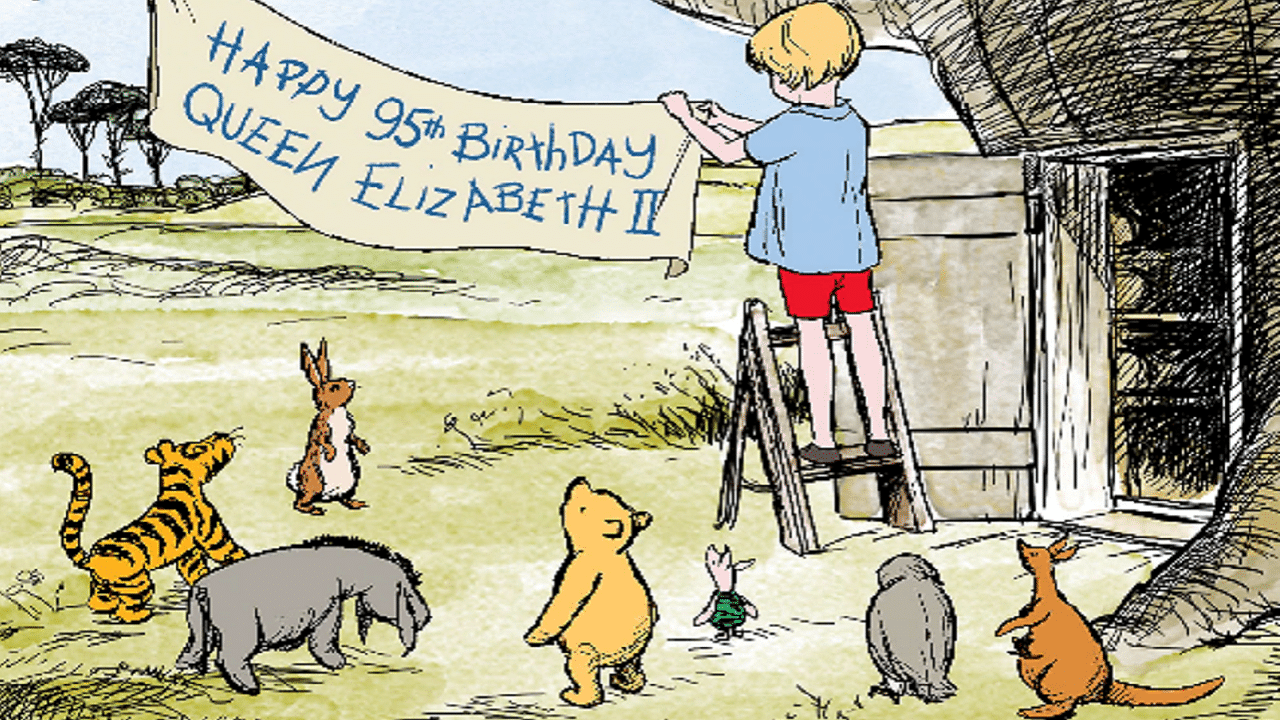 Winnie The Pooh festeggia i suoi 95 anni omaggiando la Regina Elisabetta thumbnail